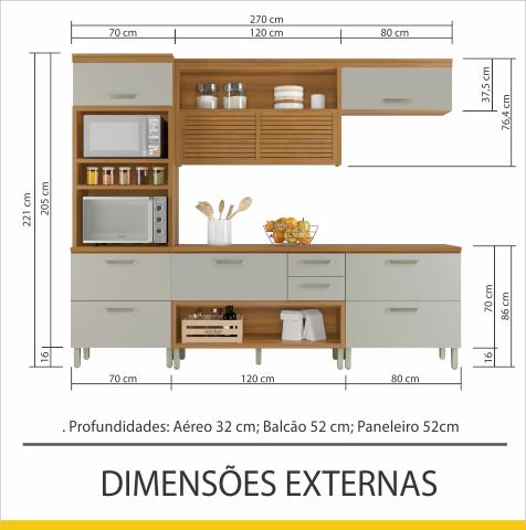 Cozinha 4 Peças Torre Quente Nesher Princesa 100% MDF