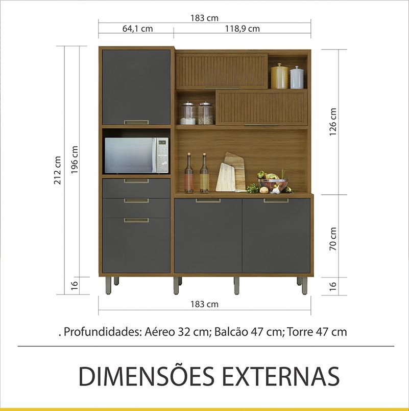 Cozinha 6 Portas 2 Gavetas Loft Nesher Imperatriz 100% MDF