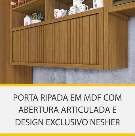 Cozinha 9 Peças Nesher Baronesa Ângulo Torre Quente 100% MDF