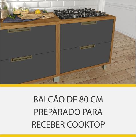 Cozinha 9 Peças Nesher Imperatriz Ângulo Torre Quente 100% MDF