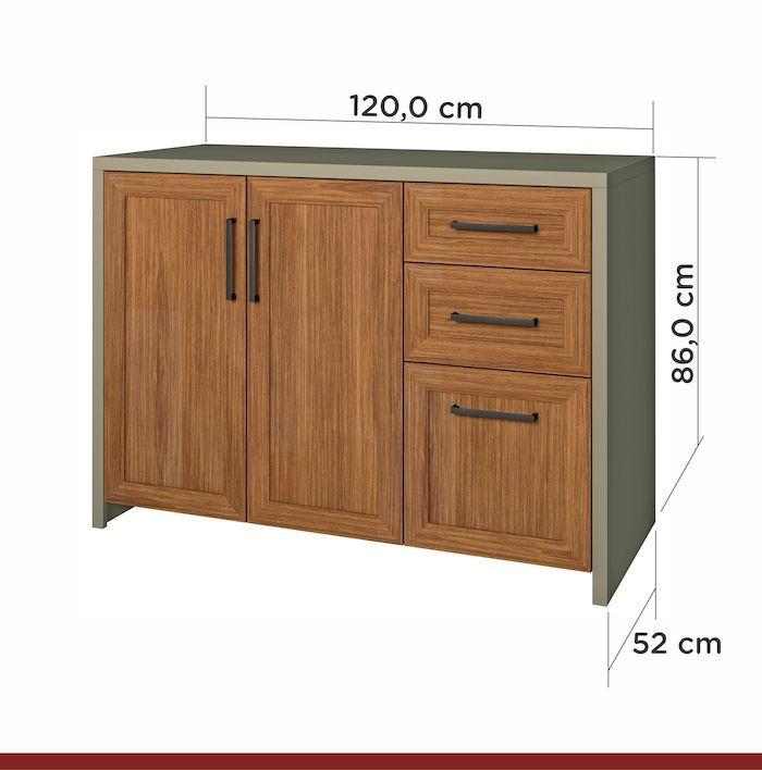 Balcão 2 Portas 3 Gav Camponesa 120cm MDF