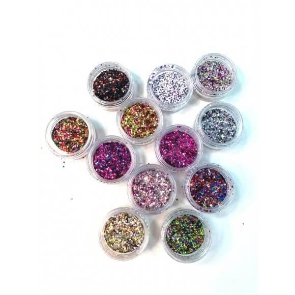Kit 12 Potinhos Glitter Flocado