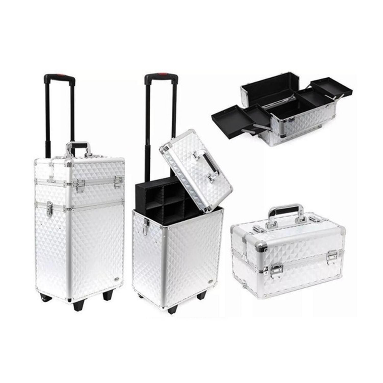 Maleta Profissonal Para Maquiagens e Acessórios com Carrinho - Ruby-s - Silver FS - 1204MC