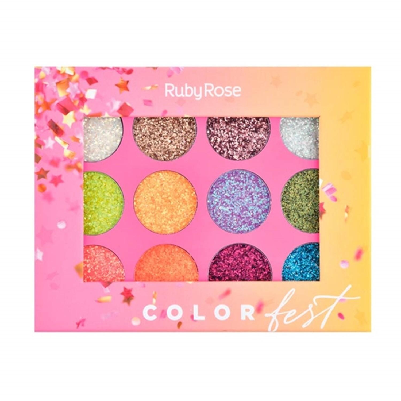 Paleta de Sombra Glitter Color Fest - Ruby Rose