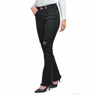Calça Jeans Bout Cut Feminina Six One Preto