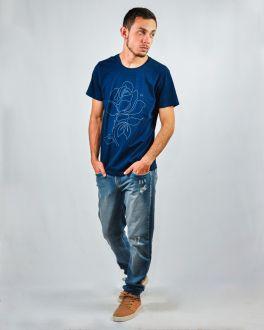 Camiseta Estampada Gola Careca Masculino Ogochi Marinho