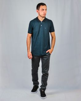 Camiseta Slim Gola Polo Manga Curta Masculino Ogochi Verde Escuro