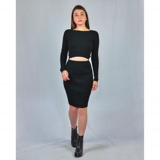 Vestido Feminino Mara Rosa Ribana com Abertura Preto