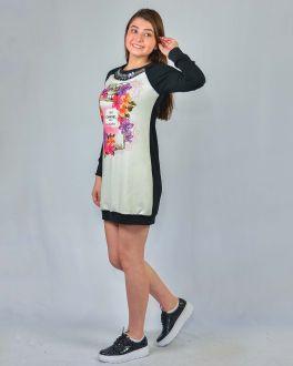 Vestido Manga Longa Feminino Miss Amores Estampado Floral