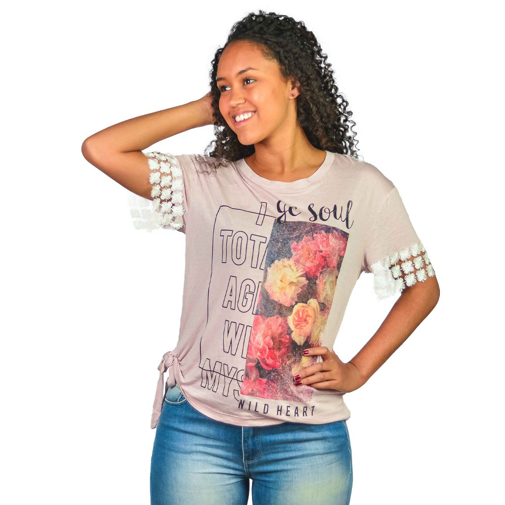 Blusinha Feminina Cha de Pimenta Estampada Rose com Renda
