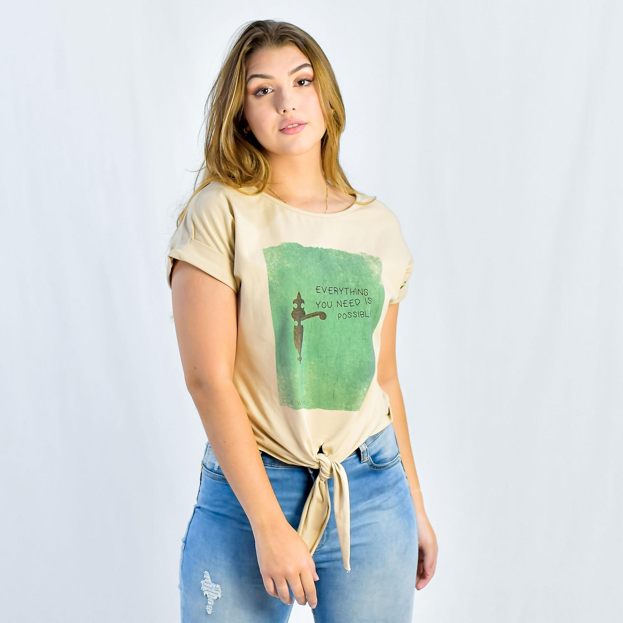 T-shirt em malha de algodão Comprimento Cropped Club Denim