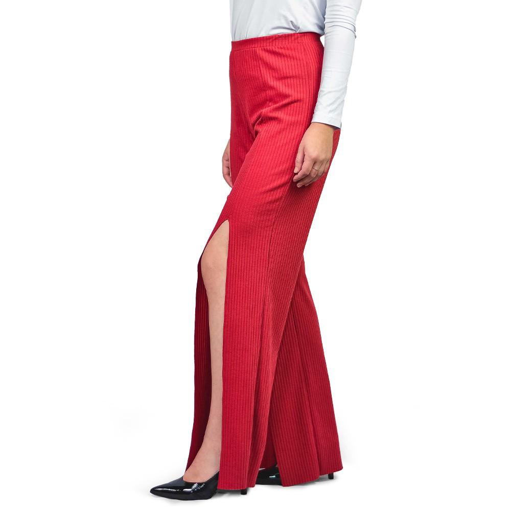 Calça Feminina Pantalona Canelada  Mara Rosa Telha