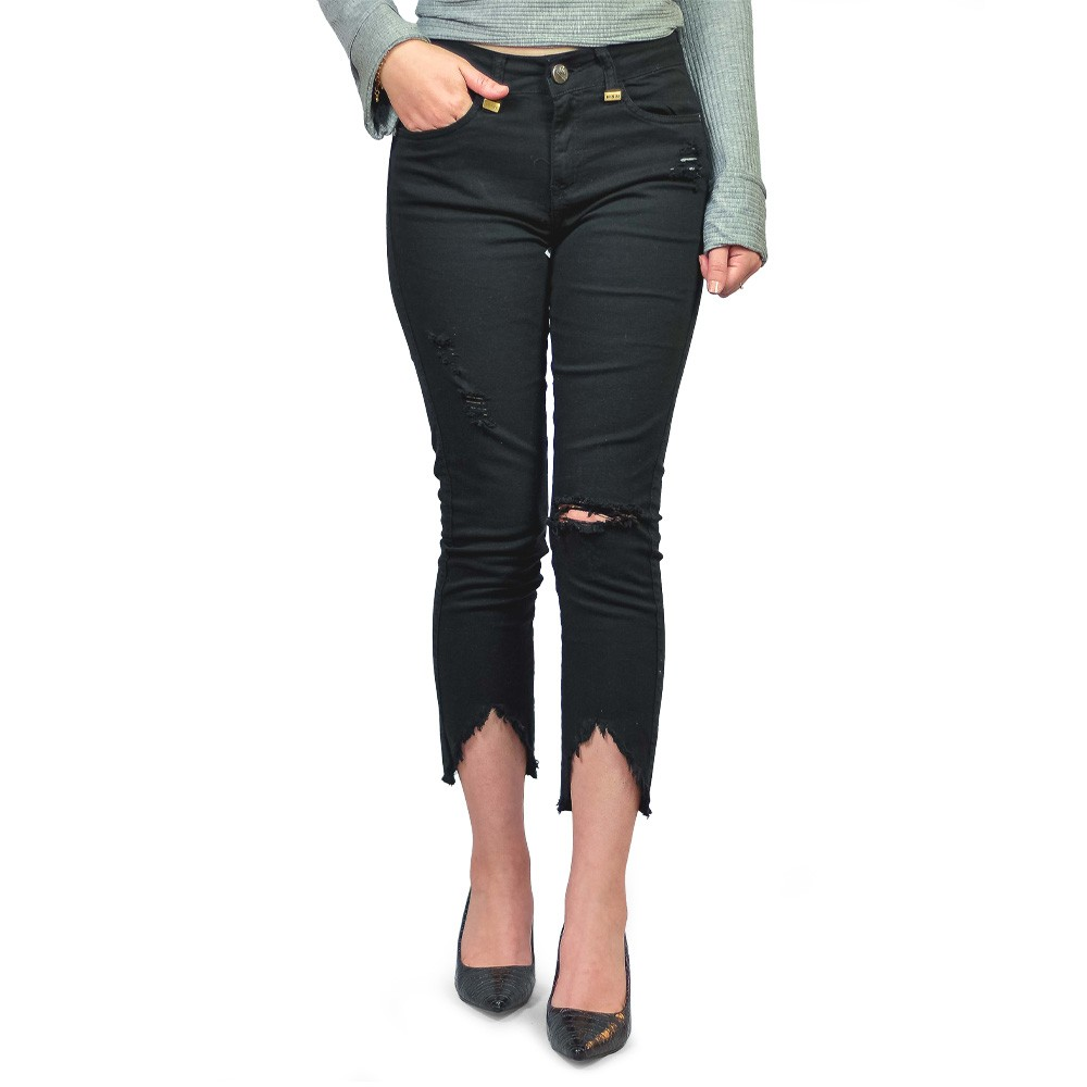 Calça Jeans Cropped Feminina Club Denim Color Preto