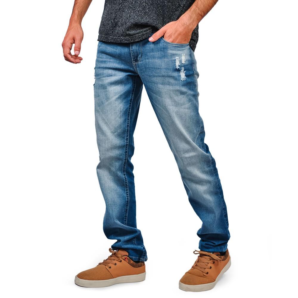 Calça Jeans Just Fit Masculino Six One Rasgada Hiperflex
