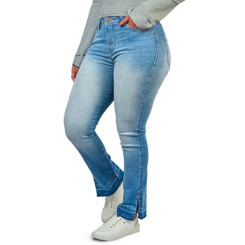 Calça Jeans Reta Feminina Barra Aberta Six One