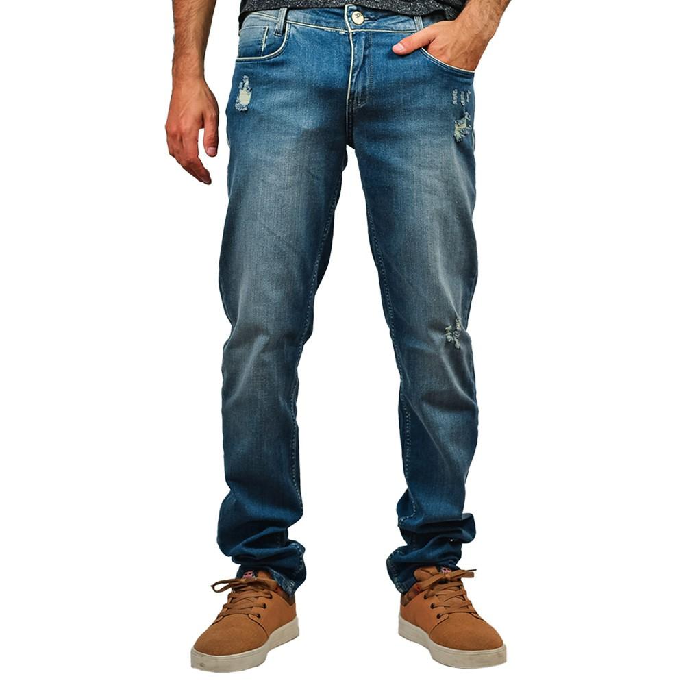 Calça Jeans Skinny Masculino Six One Rasgada Hiperflex