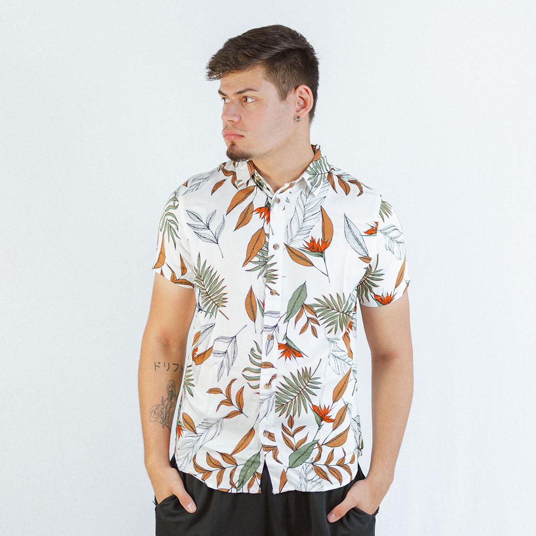 Camisa Casual Manga Curta Rovitex Off White