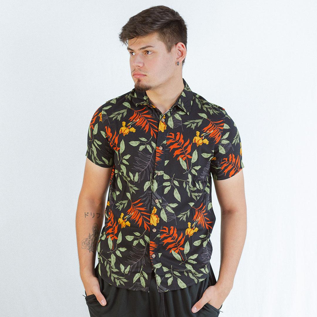 Camisa Casual Manga Curta Rovitex Preto