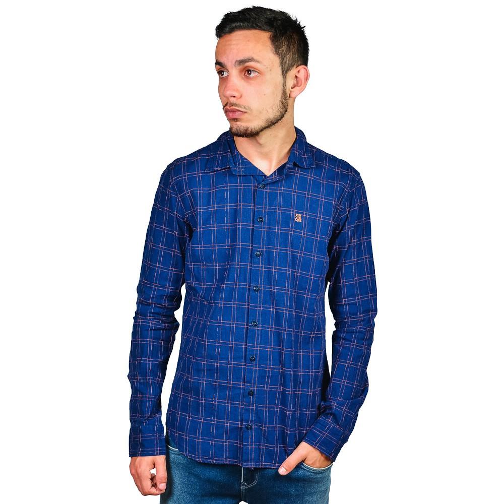 Camisa Casual Slim Fit Six One Xadrez Azul