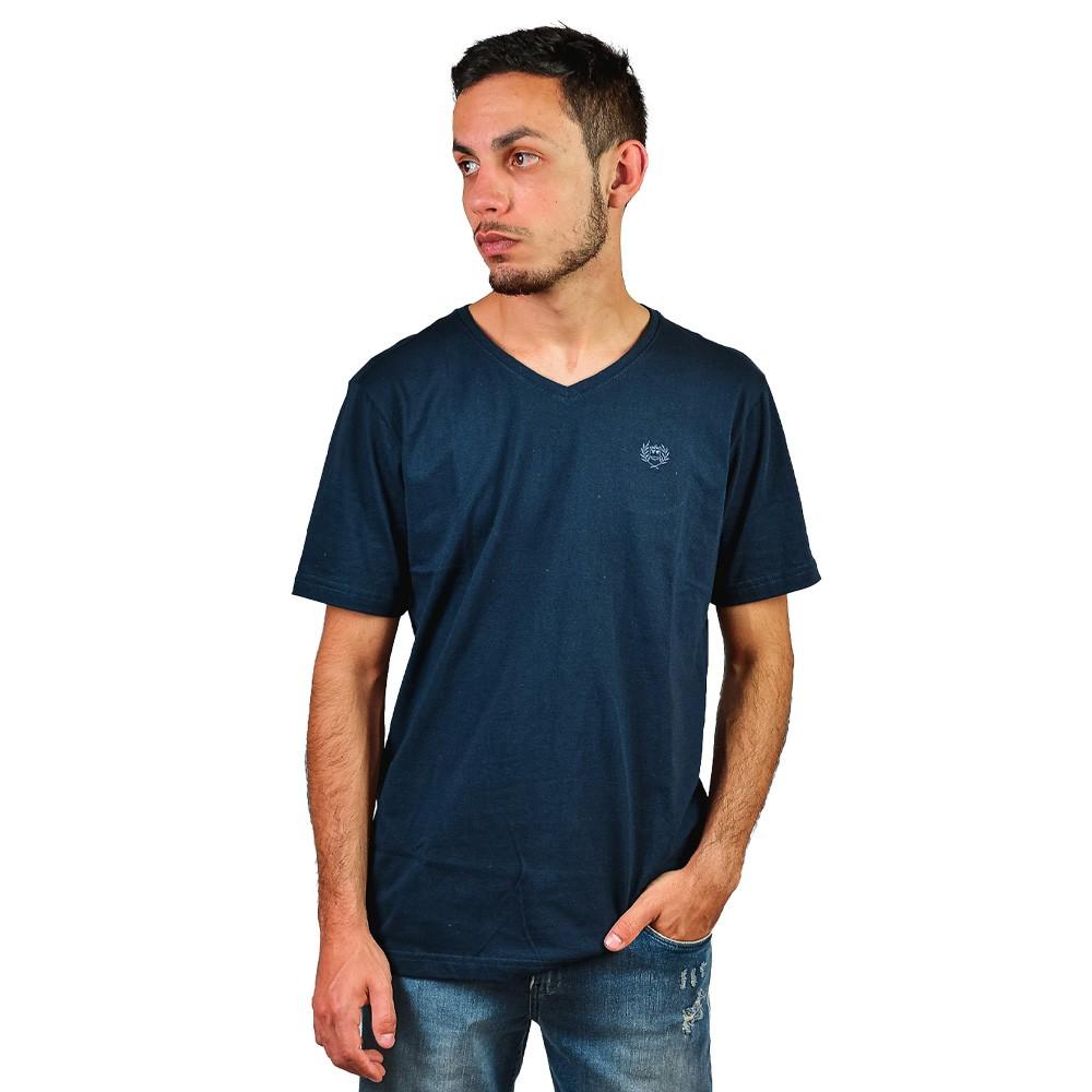 Camiseta Basica Gola V Manga Curta Colisao Marinho Lisa