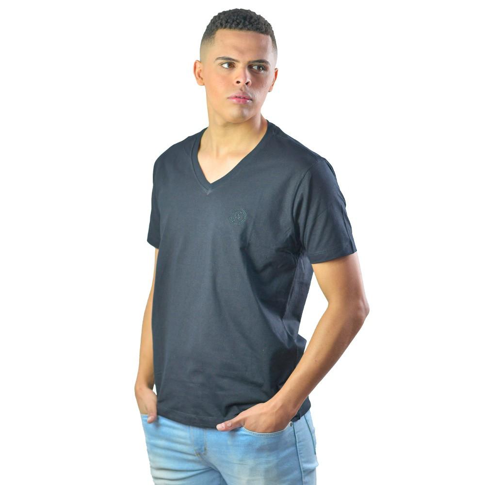 Camiseta Basica Masculina Gola V Manga Curta Preto Liso