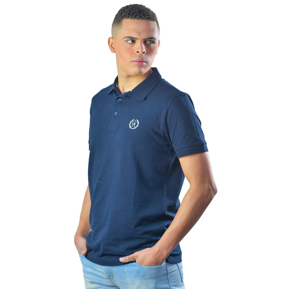 Camiseta Gola Polo Masculina em Algodão Listrada