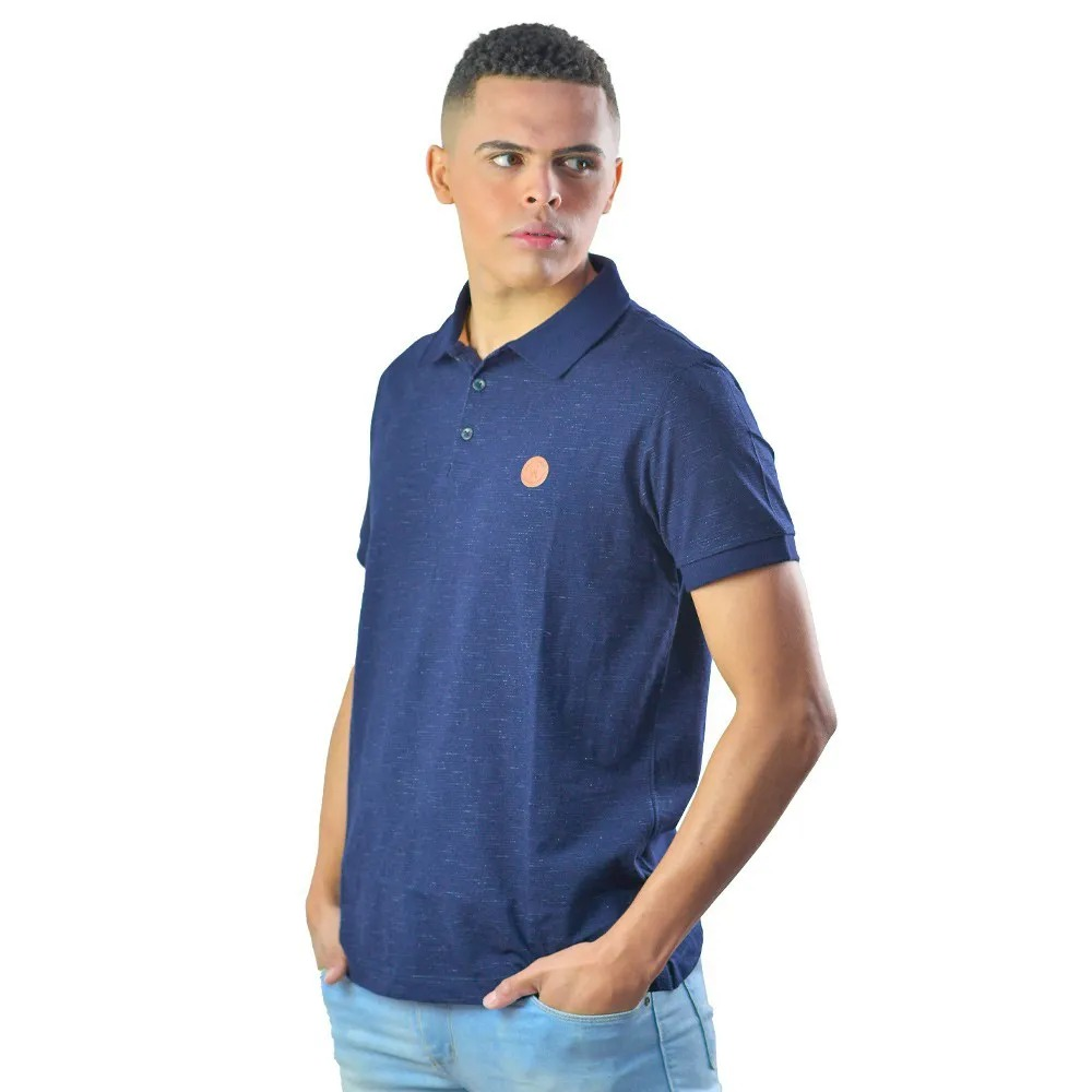 Camiseta Gola Polo Masculina Riscos Casual Marinho