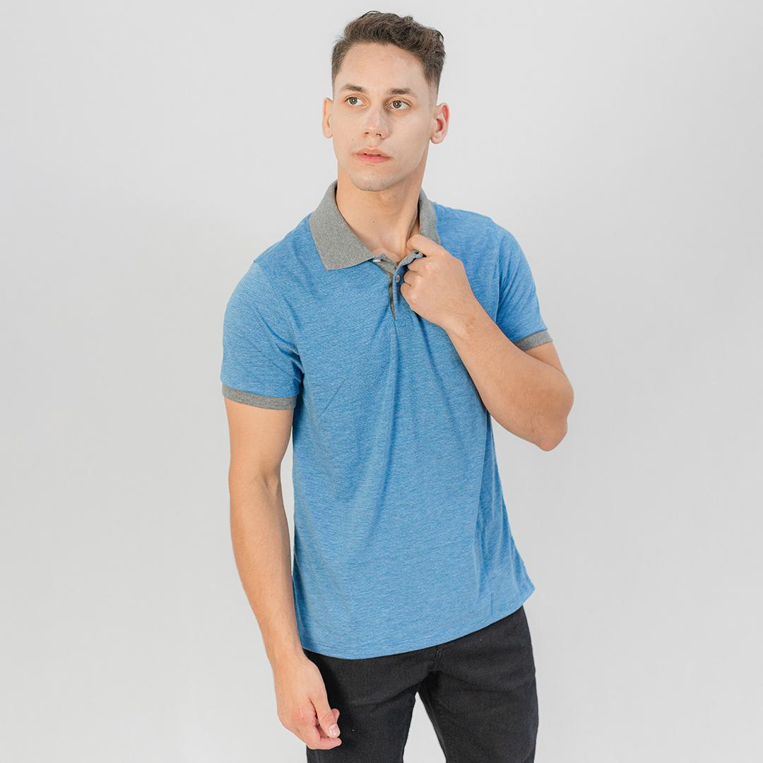 Camiseta Gola Polo MC Ogochi Casual Slim Malha Azul