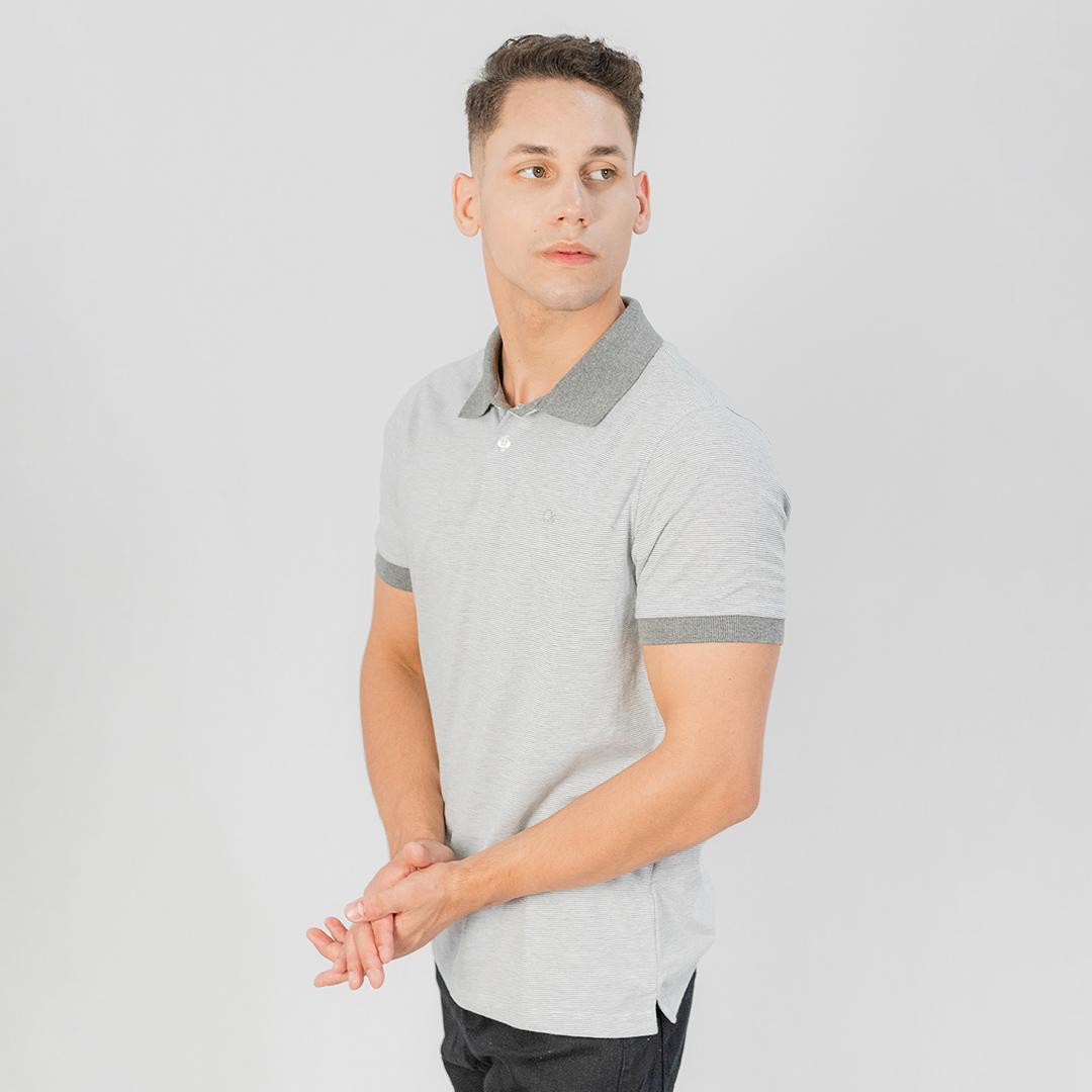 Camiseta Gola Polo MC Ogochi Casual Slim Malha Mescla
