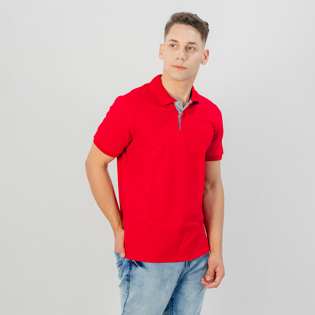 Camiseta Gola Polo MC Ogochi Essencial Slim Vermelho