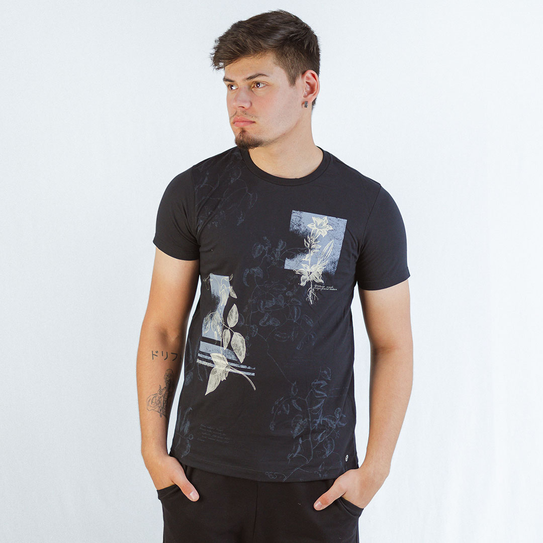 Camiseta Manga Curta Gola C Exco Preto