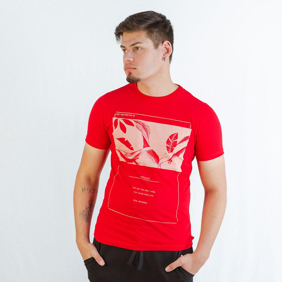 Camiseta Manga Curta Gola C Rovitex Vermelho