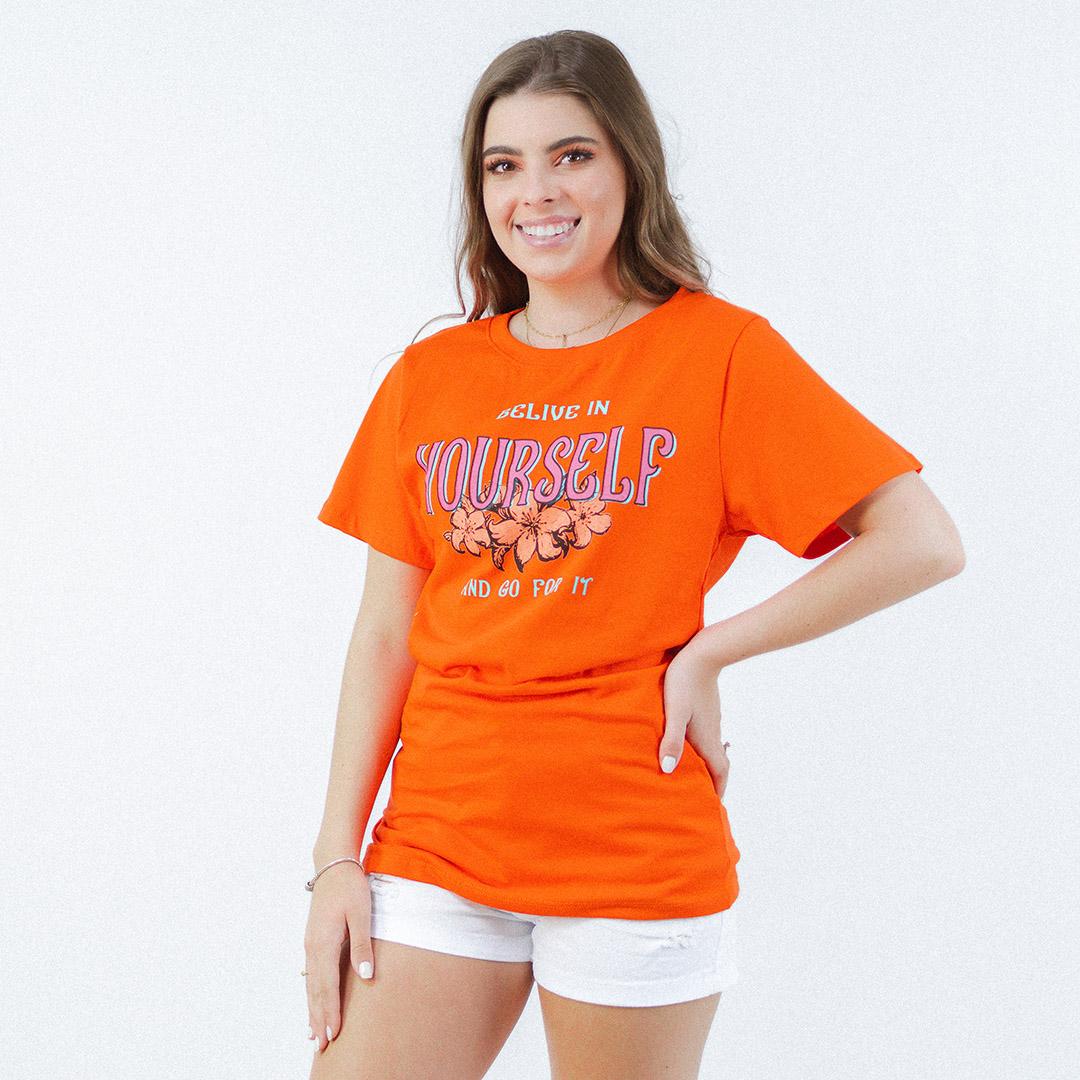 Camiseta Manga Curta Mc Jo Laranja