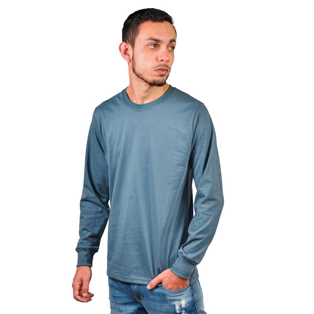 Camiseta Manga Longa Gola Careca Marco Textil Chumbo