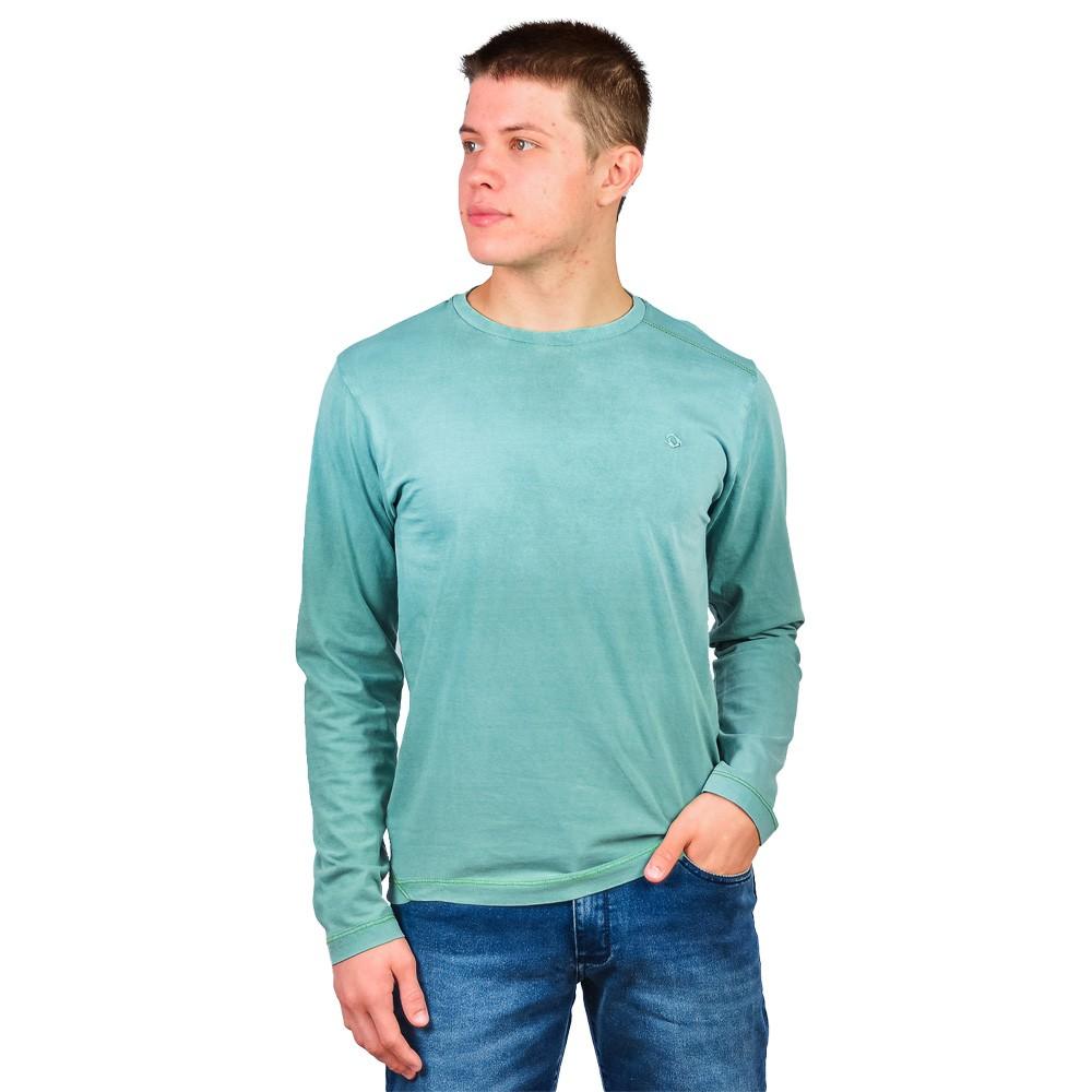 Camiseta Manga Longa Gola Careca Masculino Diamond Verde Agua