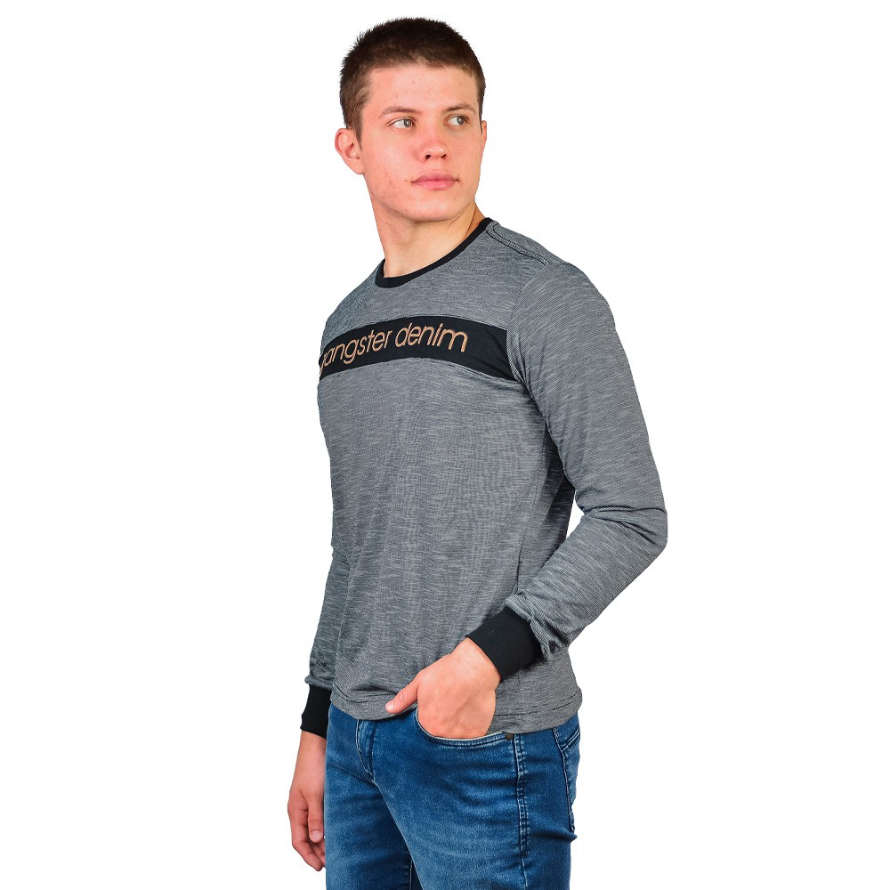 Camiseta Manga Longa Gola Careca Masculino Gangster Listrada