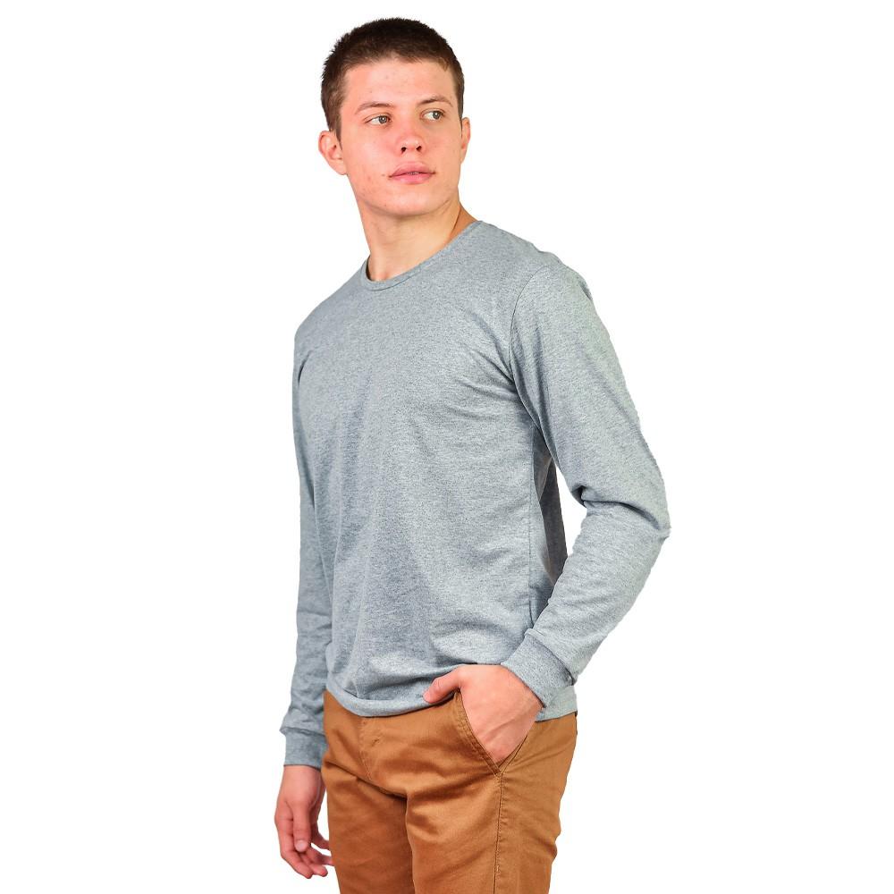 Camiseta Manga Longa Gola Careca Masculino Sigosta Mescla Cinza