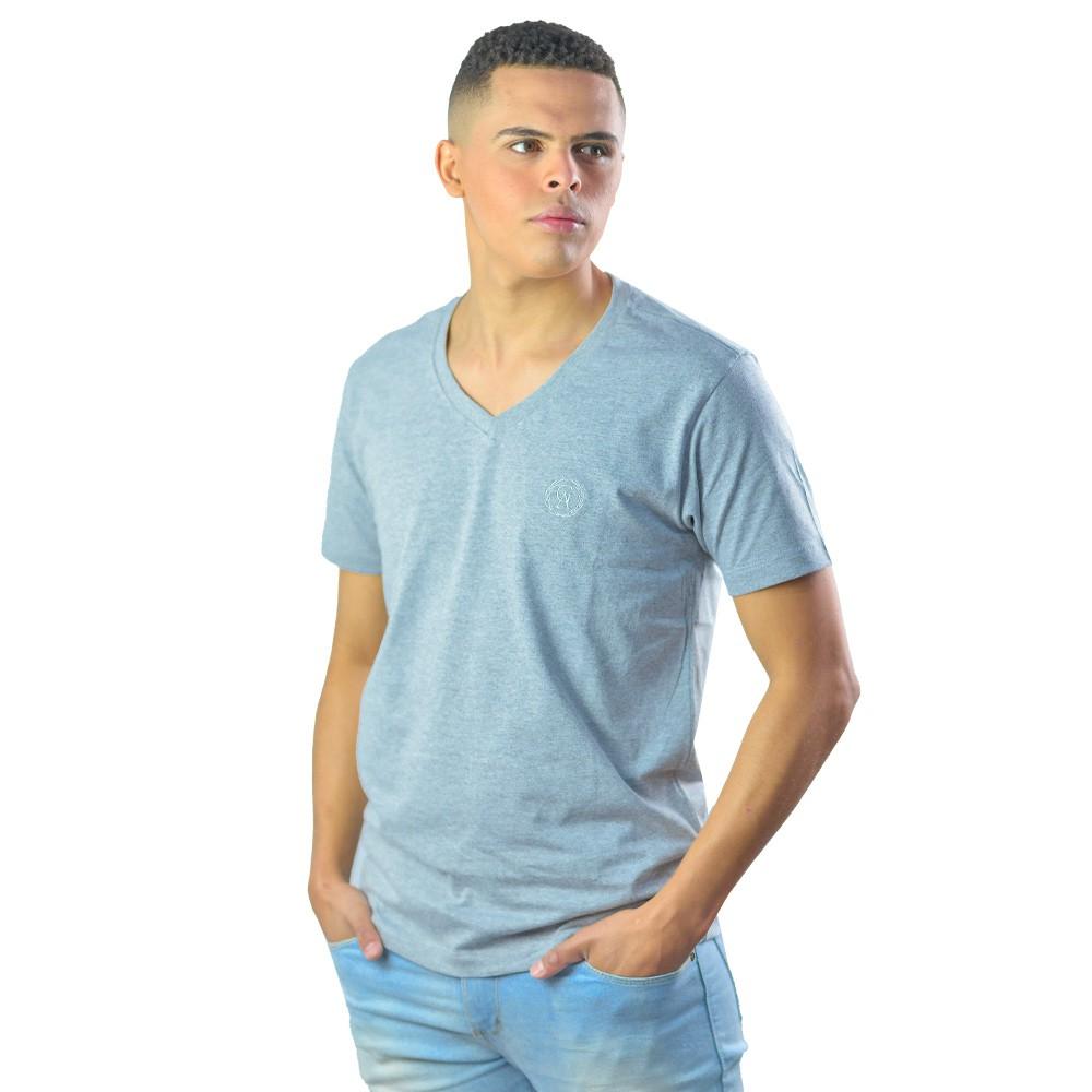 Camiseta Masculina Gola V Logomarca Estampada Casual Lisa