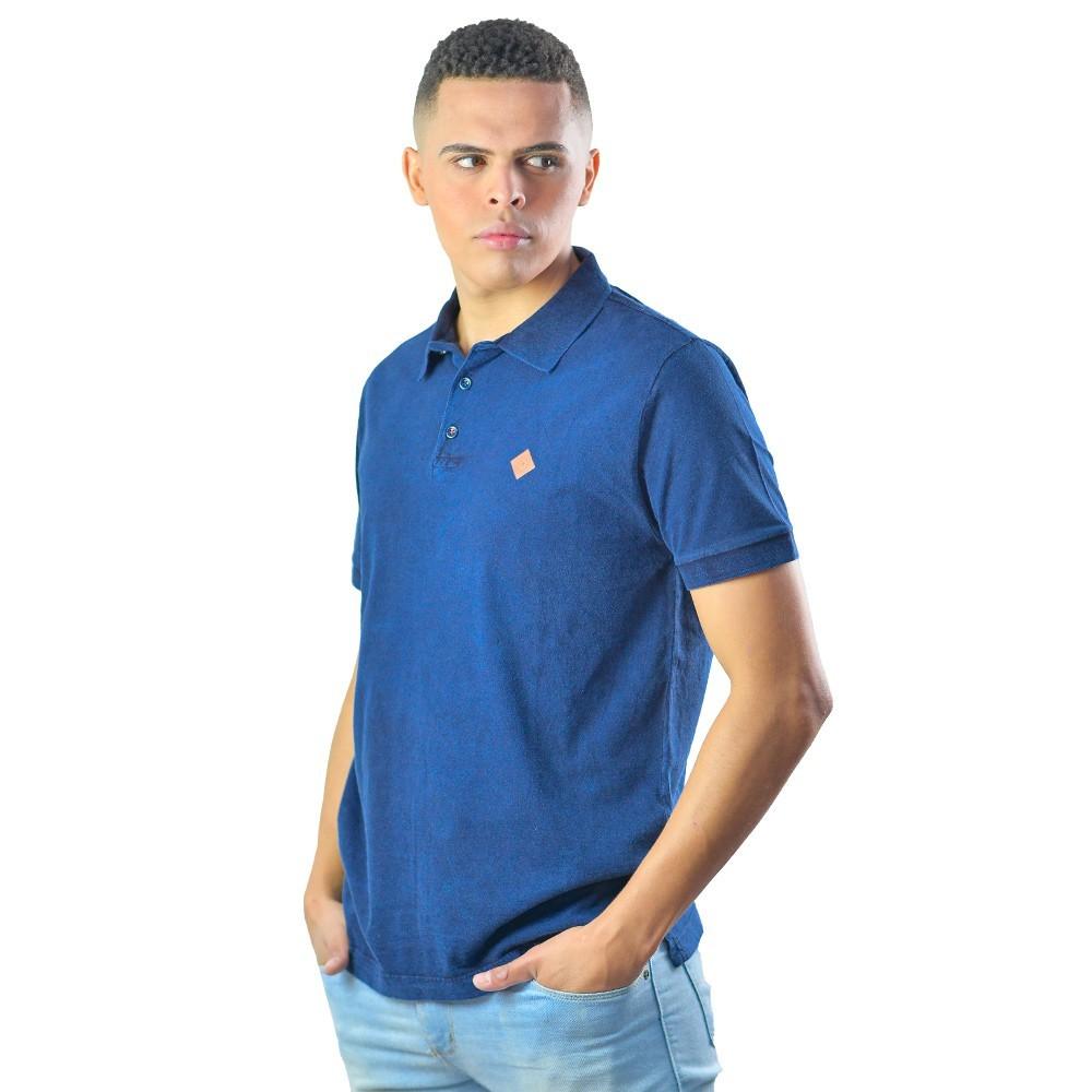 Camiseta Masculina Polo Casual Lisa Azul Marinho Manga Curta