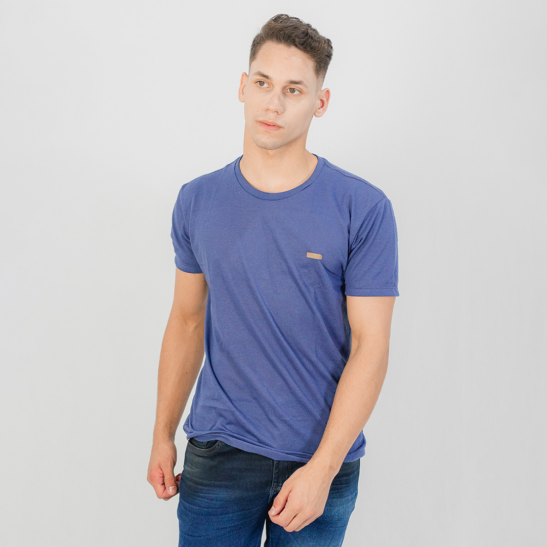 Camiseta Ogochi Gola Careca MC Casual Slim Azul