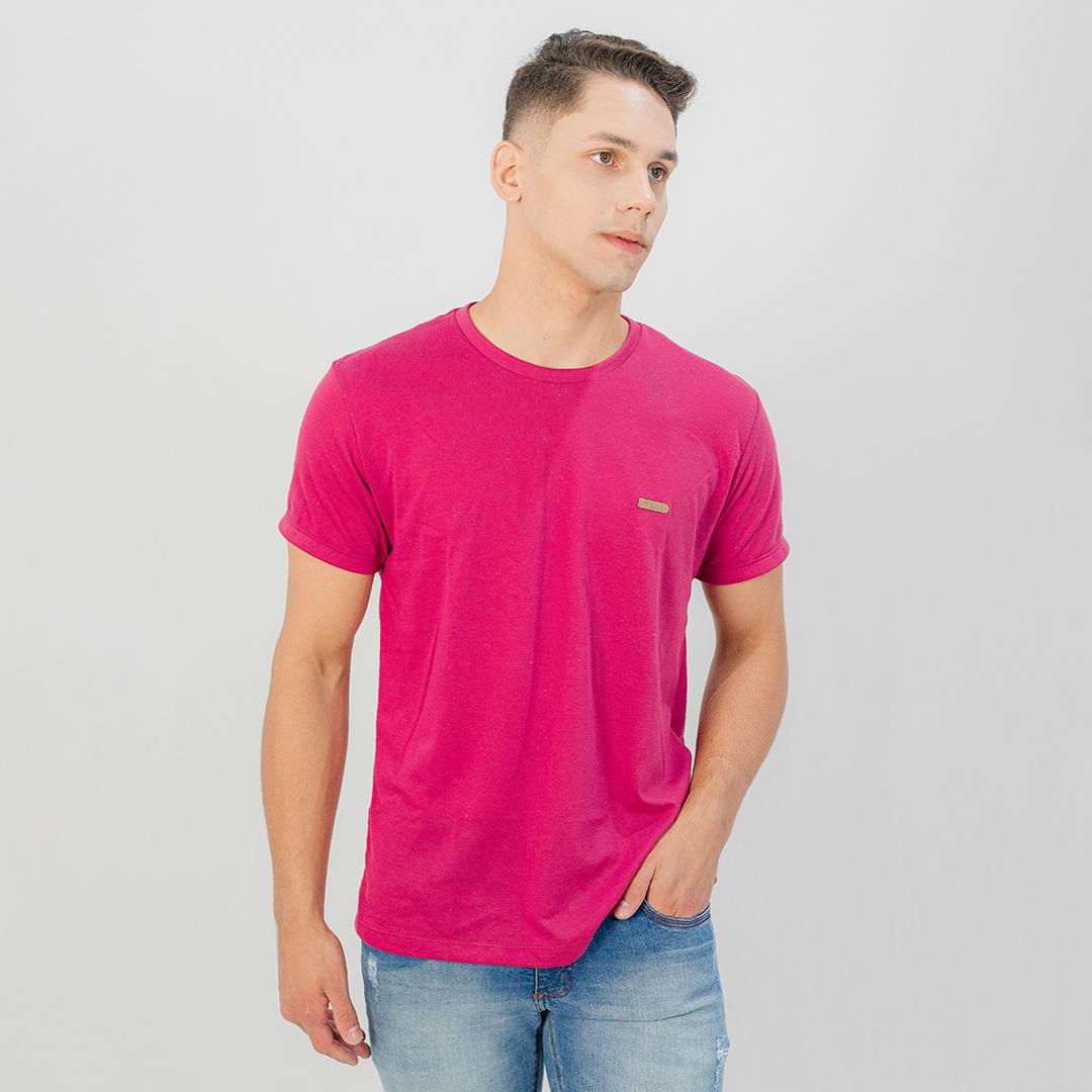 Camiseta Ogochi Gola Careca MC Casual Slim Rosa