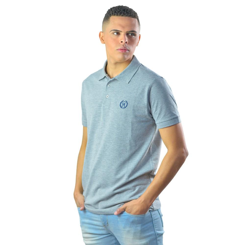Camiseta Polo Casual Basica Lisa Cinza Logomarca Estampada