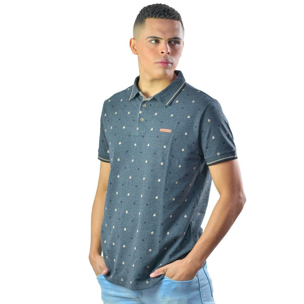 Camiseta Polo Masculina Manga Curta Folhagem Algodão