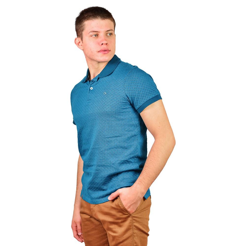 Camiseta Slim Gola Polo Manga Curta Ogochi Azul com Detalhes