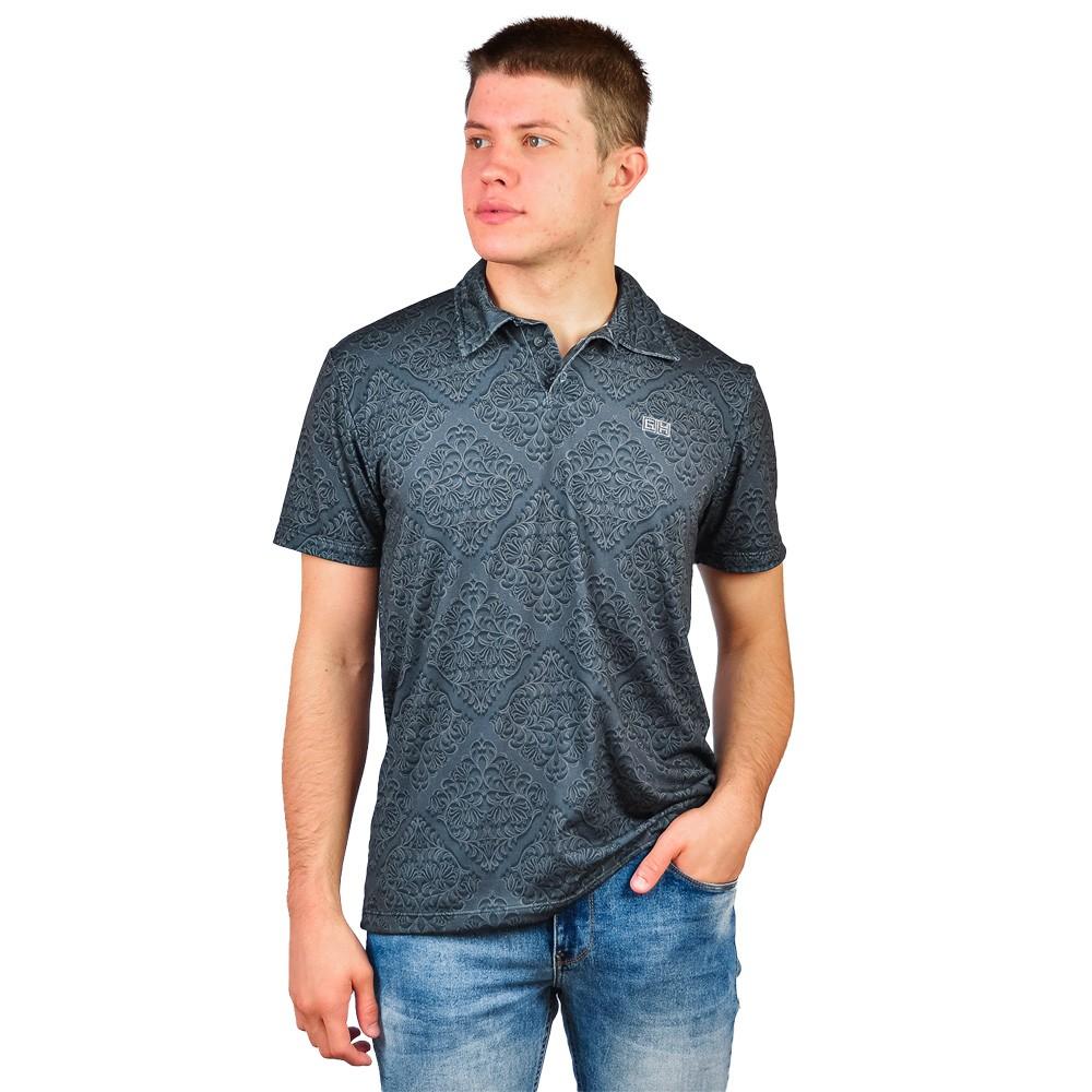 Camiseta Slim Gola Polo Masculino GH Universe Cinza Escuro