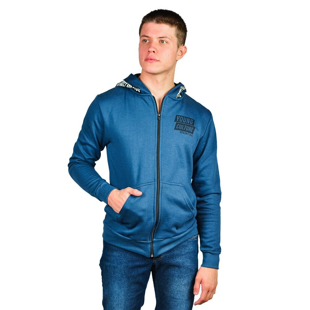 Jaqueta Moletom Masculino Urbany Azul Denim com Capuz