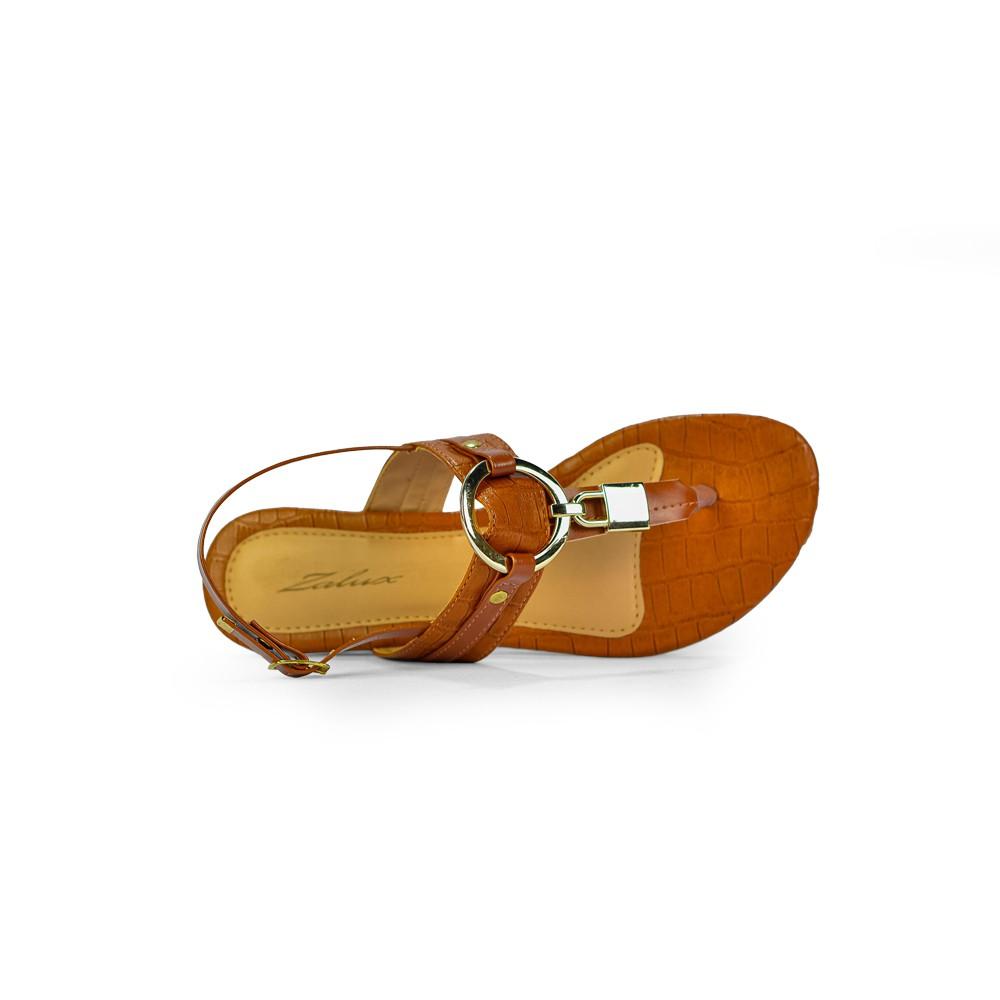 Sandalia Rasteira Zalux Dedo Caramelo R2328 Fashion
