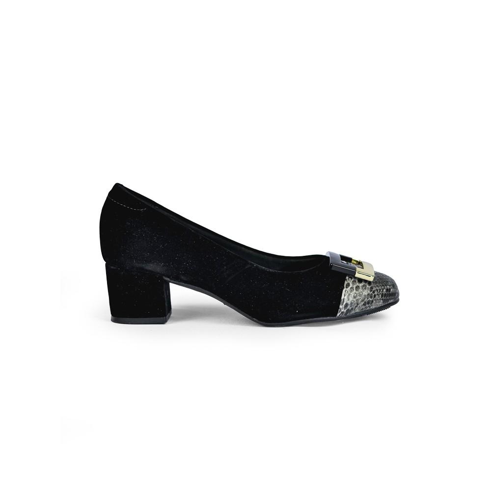 Sapato Feminino Modare Boneca Preto Camurça Detalhado