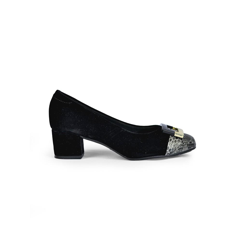 Sapato Adulto Feminino Modare Boneca Preto Camurça Detalhado