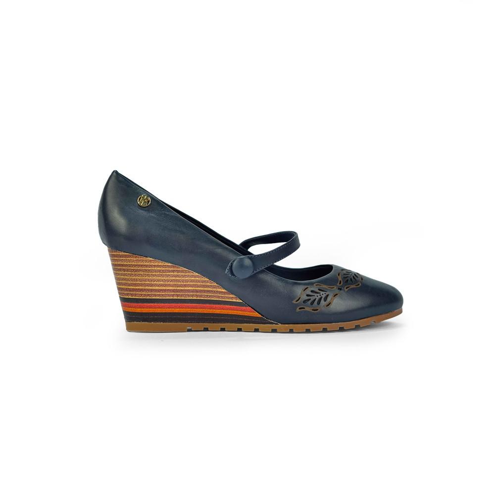 Sapato Feminino Bottero Anabela Tanino em Couro